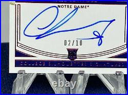 2020 National Treasures Chase Claypool Bowl Game Patch RC Auto /10 RPA Irish