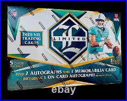 2020 Panini Limited Football Hobby Box Factory Sealed 3 Packs & 5 Cards In Packs
