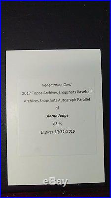 AARON JUDGE 2017 Topps Archives Snapshots AUTO PARALLEL Redemption RC Card SSP