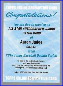 AARON JUDGE 2018 Topps Update All-Star Jumbo Patch Autograph #/10 REDEMPTION