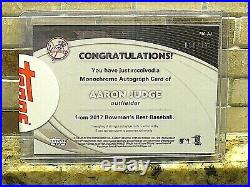 Aaron Judge 2017 Bowman's Best Monochrome Auto /125 + Used Topps Redemption Card