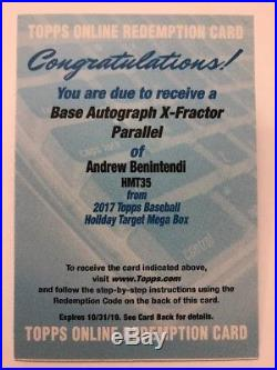 Andrew Benintendi REDEMPTION AUTO X-Fractor 2017 Topps Update Holiday Chrome