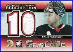 Craig Anderson 2011-12 Between the Pipes Redemption Game-Used Glove #/10
