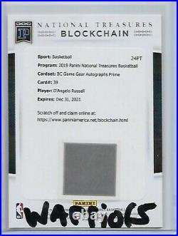 DANGELO RUSSELL 2019-20 Panini National Treasures BC GAME GEAR AUTO PRIME /5 SP