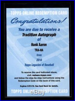 Hank Aaron Rare 2016 Topps Legacies Tradition Autograph Auto Redemption F2331