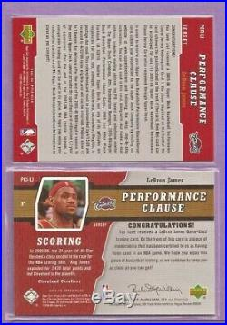LEBRON JAMES 2005-06 UPPER DECK PERFORMANCE CLAUSE GAME USED WithREDEMPTION /250