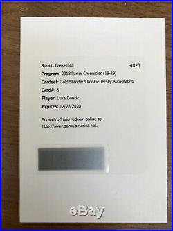 Luka Doncic 2018-19 Chronicles Gold Standard Rookie Jersey Auto #/99 Redemption