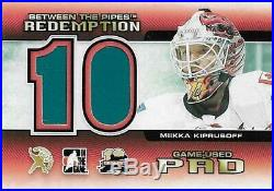 Miikka Kiprusoff 2011-12 Between the Pipes Redemption Game-Used Pad #/10