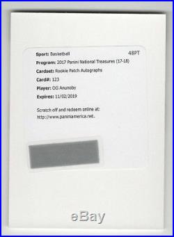Og Anunoby 2017 National Treasures Rookie Patch Auto Rpa /99 Redemption