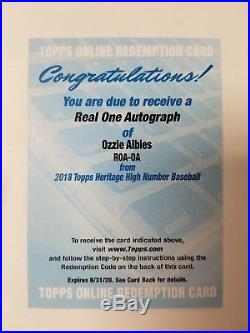 Ozzie Albies 2018 Topps Heritage High Number Real One Auto Rookie Redemption Rc