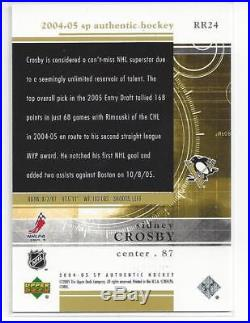 Sidney Crosby Rookie 2005/06 SP Authentic RC 249/399 Redemption Clean