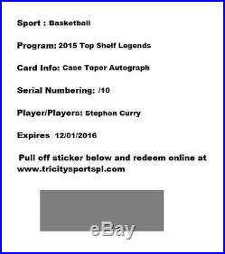 Stephen Curry 15 TCSP Top Shelf Autograph redemption numbered /10 Warriors Auto