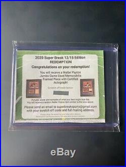 Walter Payton Jumbo GAME USED Jersey and Autograph Redemption Bears Memorabilia